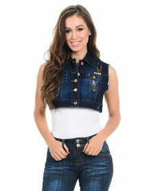 Sweet Look Women's Denim Vest - Style 514 - Size:Large