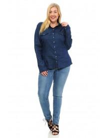 Sweet Look Women's Denim Blouse - Plus Size - Style K801B - Size:2X-Large