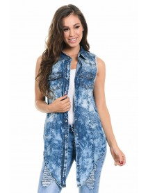 Sweet Look Women's Denim Blouse - Style Z023 - Size:2X-Large
