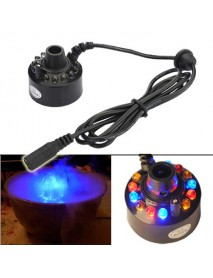 12-LED Ultrasonic Mist Maker Fogger Water Fountain Pond