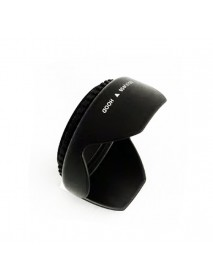 52mm Lens Hood Screw Mount Petal Crown Flower Shape Black