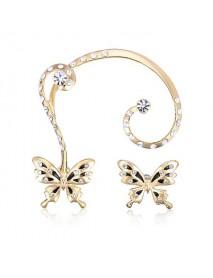 18K Gold Plated Rhinestone Butterfly Ear Clip Stud Earrings Jewelry