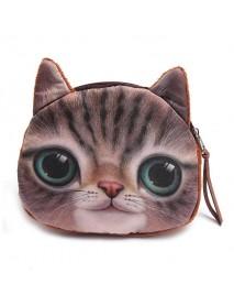Cute Girls Cartoon Animal Cat Head Mini Purse Wallet Coin Bags