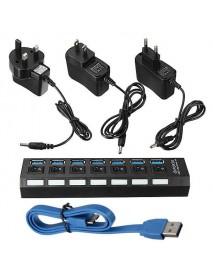 7 Port USB 3.0 Hub On/Off Switch+EU/US/UK AC Power Adapter