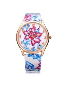 PU Leather Flower Number Round Women Quartz Wrist Watch