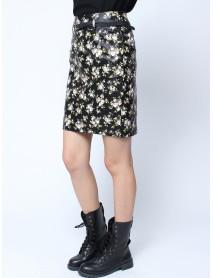 Retro Floral Back Zipper Black Belt Knee Length PU Skirt