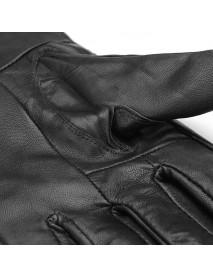 Men Sheepskin Leather  Driving Gloves Buckles Cycling Windproof Velvet  Linen Mittens