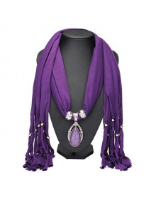 Water Drop Gem Crystal Pendant Tassel Scarf Necklace Women Jewelry