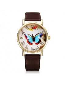 PU Leather Butterfly Gold Roman Round Women Quartz Wrist Watch