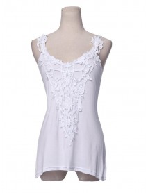 Lace Stitching Strap Vest For Women White Patchwork Sleeveless Tank Top