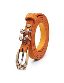 105CM Women Belt Bowknot Flower Pigskin Leather Thin Pin Buckle Strip