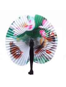 Portable Classic Hand Fan Vintage Folding Fans Round Circular Paper Folding Fans