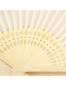 Fabric Hand Fans White Silk Folding Fan Wedding Party Favor
