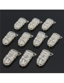 10pcs T-Shaped Plastic Clear Dummy Soother Pacifier Holder Badge Clips Suspender