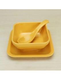 Colorful Melamine Tableware Solid Dessert Dish Dessert Bowl Spoon Suit