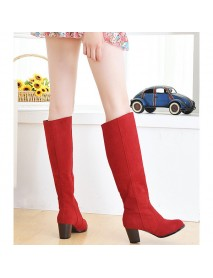 Large Size Women Boots Over The Knee Boots Low Heel Round Toe Boots