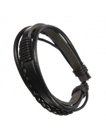 Men Multilayer Tribal Woven Surf Leather Bracelet Wristband