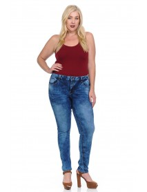 Studio Alpha Women's Jeans - Plus Size - High Waist - Push Up - Style H53 - Size:14