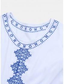 Bohemian Embroidery O-neck Long Sleeve Bikini Shirt Dress
