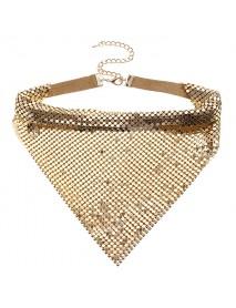 Women's Statement Aluminum Sparkling Paillette Chain Noble Collar Clavicle Necklace