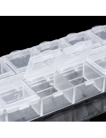 12 Grid Jewelry Pill Case Organizer Double Row Independent Open Lid Storage Box