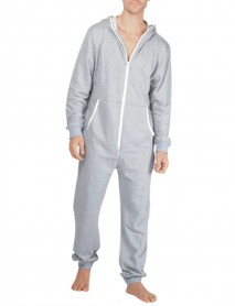 Men Casual Onesies Jumpsuit Hooded Loungewear Loose Pockets Sleepwear Home Daily Pajama Set