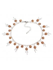 JASSY Elegant Platinum Plated Sweet Topaz Gemstone Flower Anklet Anallergic Women Gift