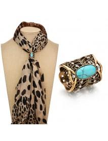 Vintage Antique Silver Gold Color Scarves Buckle Turquoise Rhinestone Shawl Buckle Elegant Brooch