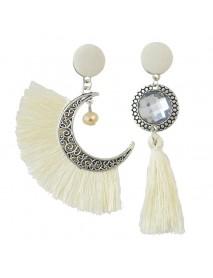 Ethnic Asymmetric Tassel Earring Bohemian Crystal Moon Drop Earrings Dangle Earrings for Women