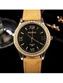 YAZOLE 359 Fashion Women Quartz Watch Retro Crystal Gold Luxury Genuine Leather Watch Ladies Watch