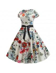 3d Retro Hepburn Digital Print Big Swing Skirt Waist Dress Dress Female 336