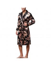 INCERUN Mens Satin Silk Pajamas Kimono Bathrobe Robe Dressing Gown Sleepwear Loungewear