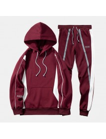 Mens Sport Patchwork Thick Elastic Waist Casual Sweatshirt Suit