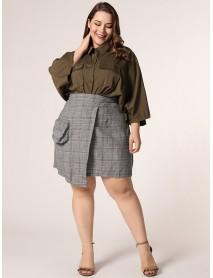 Plus Size Women Solid Color Plaid Irregular Hem Pocket Casual Skirts