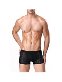 4 Pieces Mens Mesh Ice Silk Breathable Soft Underwear U Convex Mid Waist Boxers Briefs