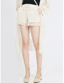 Women Solid Color Drawstring Elastic Waist Lace Shorts Pants