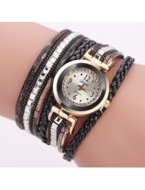 DUOYA Women Leather Band Winding Analog Laides Dress Bracelet Quartz Watch