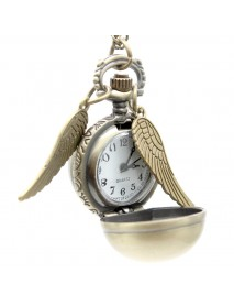 Golden Wings Snitch Quartz Pocket Watch Necklace Steampunk Quidditch Pocket Clock for Men Women