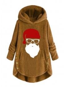 Cartoon Santa Claus Print Button Hooded Fleece Sweatshirt Warm Coats with Pockets