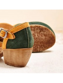 LOSTISY Women Embroidery Round Toe Ankle Strap Comfy Casual Heels Pumps