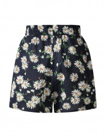 Daisy Print High Waist Women Casual Shorts