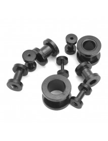 36Pcs 14G-00G Ear Plugs Stretching Expande Screw 316L Stainless Steel Black Set