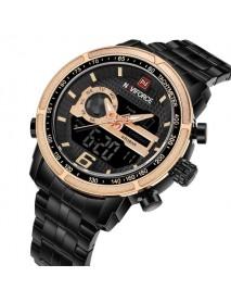 NAVIFORCE NF9119 Men Watch Luxury Dual Display Stainless Steel Strap Business Quartz Watch