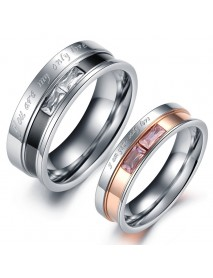 Sweet Stainless Steel Couple Ring Crystal Rose Simple Weeding Finger Ring for Couples