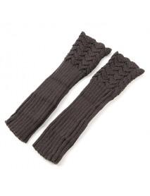 Women Female Crochet Knitting Fingerless Long Arm Warmer Gloves