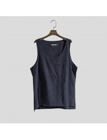 Mens Sport Stripe Tank Tops Practical Pocket Casual Vest