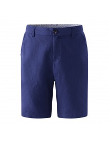 ChArmkpR Mens Cotton Linen Pure Color Mid Rise Summer Knee Length Casual Shorts
