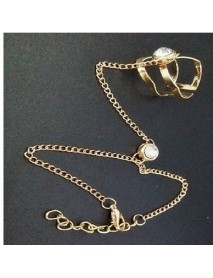Fashion Chain Bracelets Hollow Geometric Rhinestone Bracelet Together with Ring Jewelry for Women
