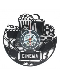 12 12 Inch 3D Black Popcorn Wall Clock Theater Movie Cinema Snack Bar Clocks Home Decor