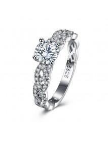 INALIS 925 Sterling Silver Women Wedding Ring Elegant Woven Shape Gemstone Anallergic Gift
